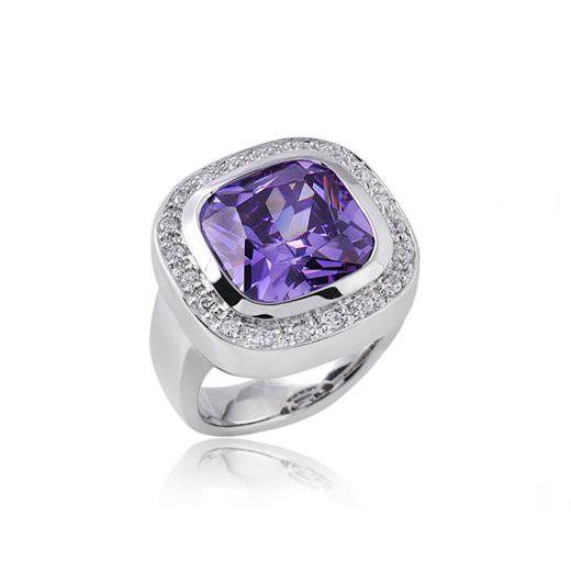 GANI MARIANO 925 Silber Ring Zirkonia lila LAVANDA - Solitär Ring rhodiniert inkl. Holzbox #LDR