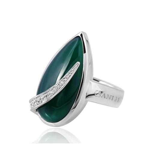 GANI MARIANO 925 Silber Ring Achat grün LACRIMA - Solitär Ring Edelstein rhodiniert inkl. Holzbox #LMR