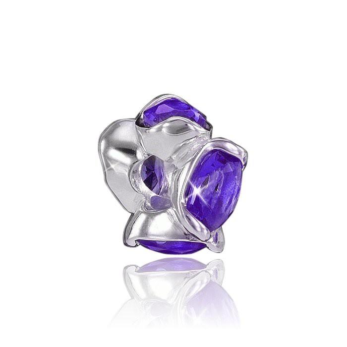 MATERIA 925 Silber Beads Zirkonia Anhänger Rondelle violett für European Beads Armband / Kette #801