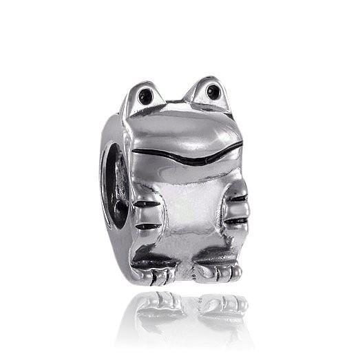 MATERIA 925 Silber Beads Anhänger Frosch antik für European Beads Armband / Kette #802