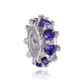 MATERIA 925 Silber Beads Spacer Zwischenelement Zirkonia lila für European Beads Armband / Kette #809