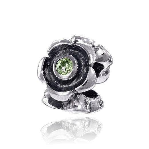 MATERIA 925 Silber Bead Zirkonia grün ARALIA - Antik Silber Anhänger für Beads Armband / Kette #814