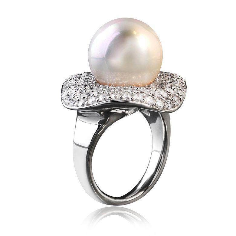 GANI MARIANO 925 Silber Ring Perle SIRENA - Zirkonia Ring Solitär rhodiniert inkl. Holzbox #SRR