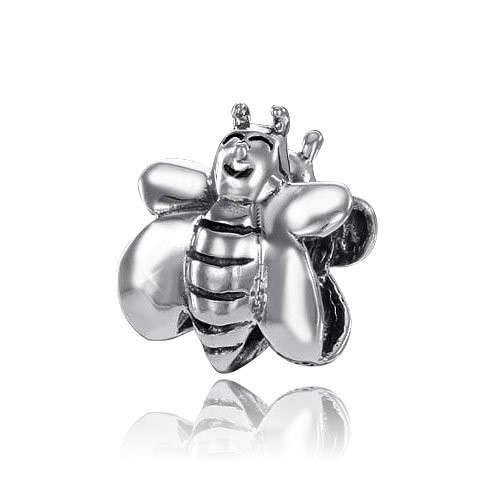 MATERIA 925 Silber Beads Biene - Silber Anhänger für European Beads Armband / Ketten #878