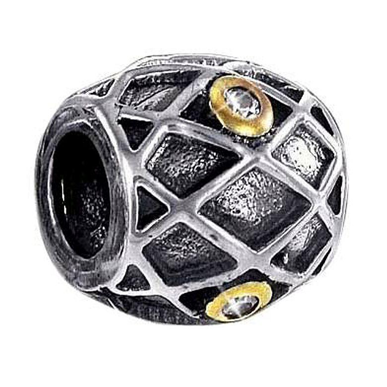 MATERIA 925 Silber Beads Anhänger antik vergoldet mit Zirkonia für Armband / Kette #719