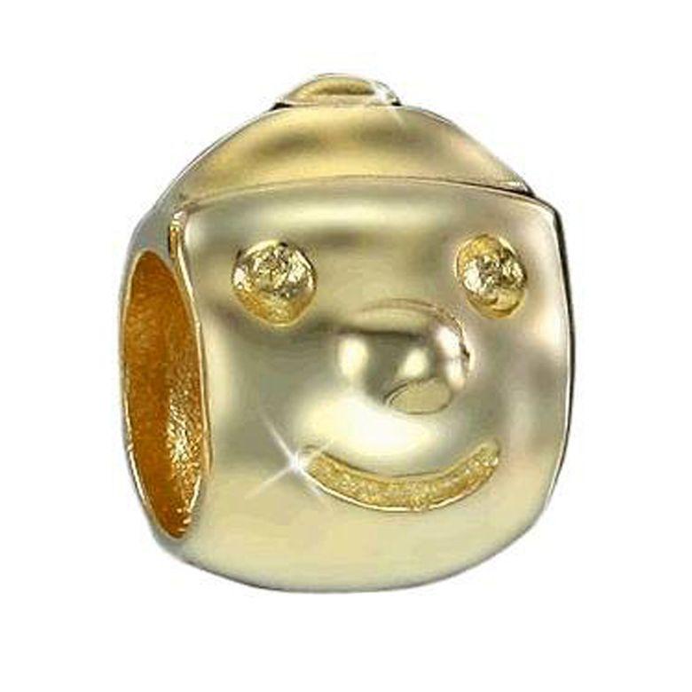 MATERIA 925 Silber Bead PINOCCHIO - Gold Anhänger Kinder für Beads Armband / Kette #820