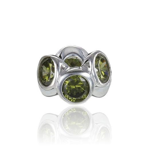 MATERIA 925 Silber Beads Zirkonia Anhänger Grün für European Beads Armband / Kette #822