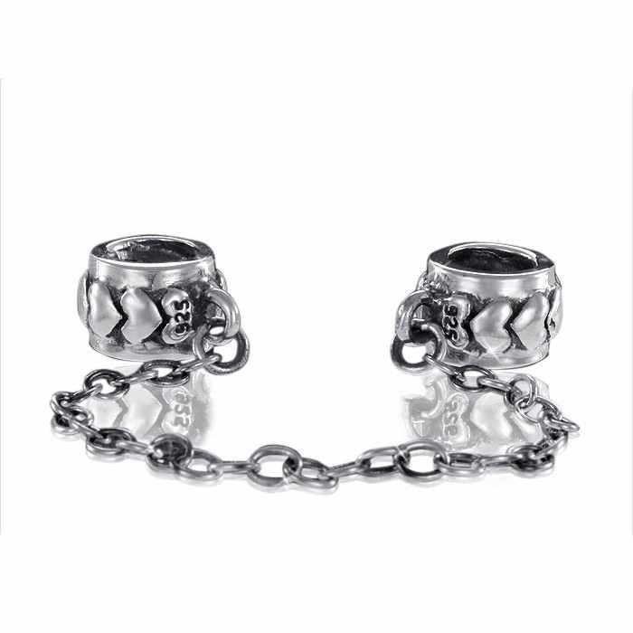 MATERIA 925 Silber Beads Herz Sicherheitskette für Beads Armband mit Gewinde #823