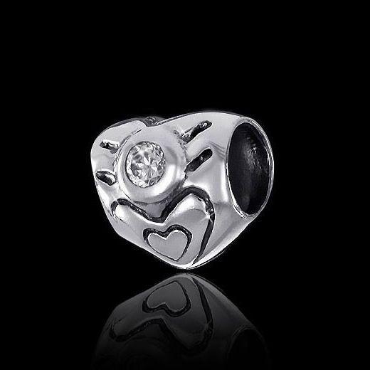 MATERIA 925 Silber Bead Herz - Zirkonia Anhänger Liebe für Beads Armband / Kette #827