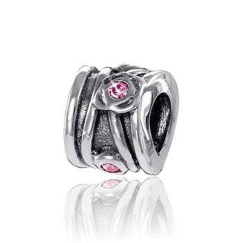 MATERIA 925 antik Silber Beads Anhänger mit Zirkonia rosa für European Beads Armband / Kette #829