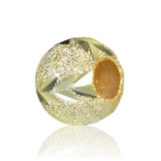 MATERIA European Bead 925 Silber STARDUST - Gold Kugel Anhänger diamantiert für Armband / Kette #682