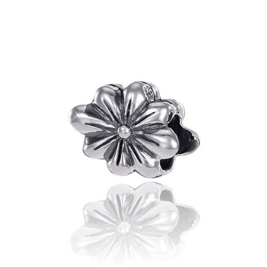 MATERIA 925 Silber Beads Blume - Antik Anhänger für European Beads Armband / Kette #862