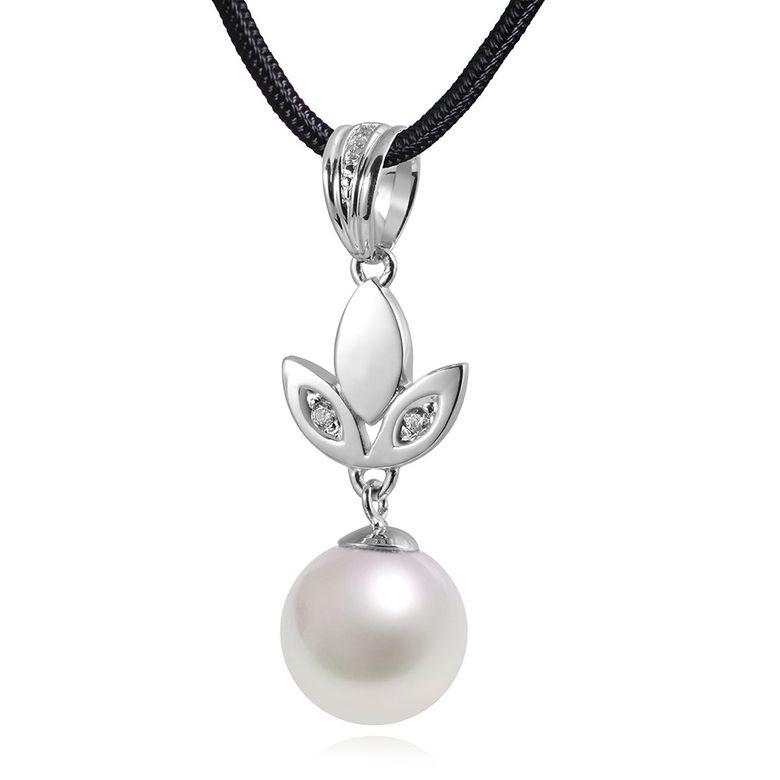 MATERIA 925 Silber Kettenanhänger Perle FLORA - Zirkonia Anhänger Damen rhodiniert mit Box #KA-236