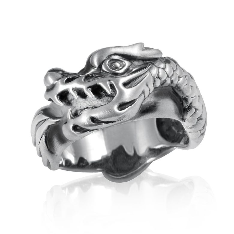 MATERIA Herren Ring Drache Silber 925 antik massiv Fantasie Tier Ringschmuck mit Box #SR-67