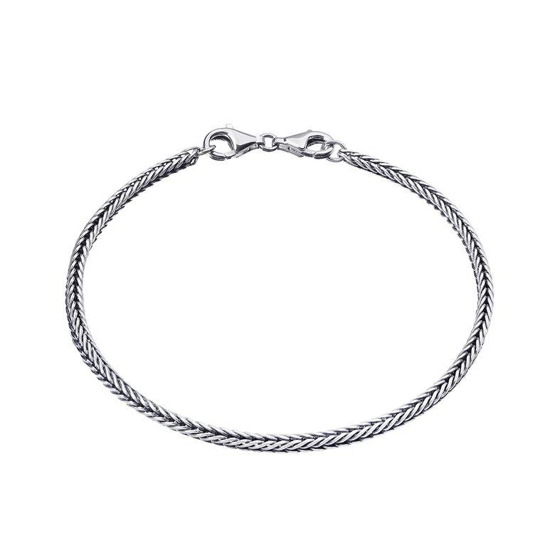 MATERIA Beads Armband Silber 925 antik oxidiert für Charms Schmuck mit Karabiner Verschluss 17-22mm in Geschenk Box SA-6