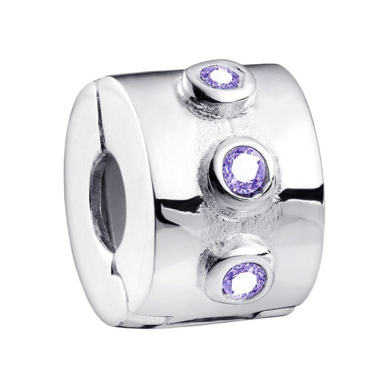 MATERIA Stopper Charms Clip Silber 925 - Damen Bead mit 6 lila Zirkonia Mädchen im Geschenkbeutel #868