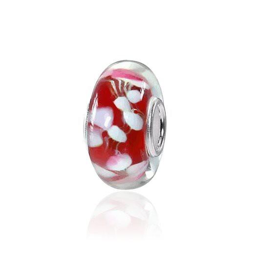 MATERIA Muranoglas Beads Perle WEIẞE LILIE für European Beads Armband / Kette #874