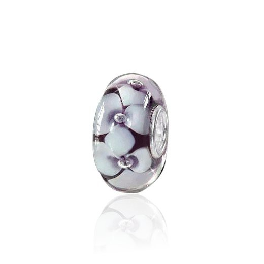 MATERIA 925 Silber Muranoglas Bead Blume ALPENVEILCHEN weiß lila für Beads Armband / Kette #881