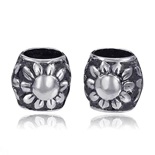 MATERIA 925 Silber Beads Kugel SONNENBLUME - Antik Silber Anhänger für Beads Armband / Kette #895