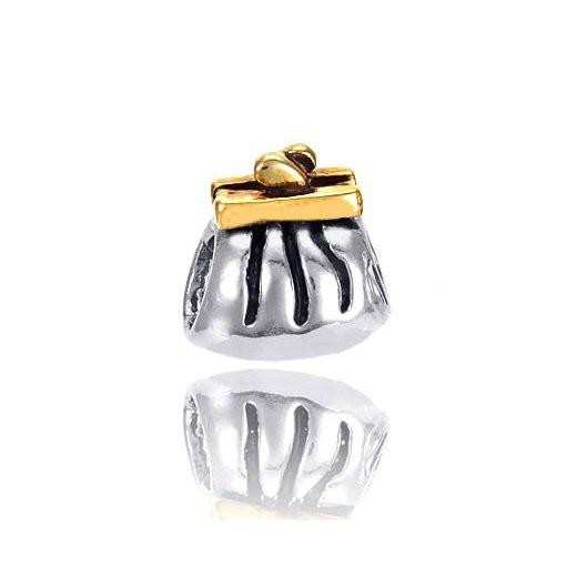 MATERIA 925 Silber Beads Handtasche bicolor - Anhänger vergoldet für Beads Armband / Kette #924