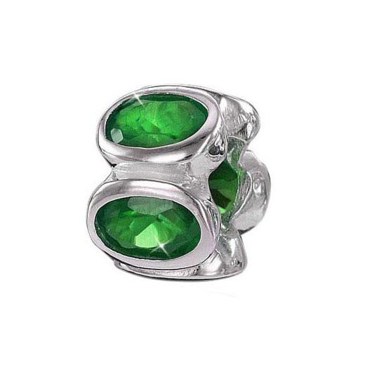 MATERIA 925 Silber Beads Zirkonia Anhänger Rondelle smaragdgrün für European Beads Armband / Kette #790