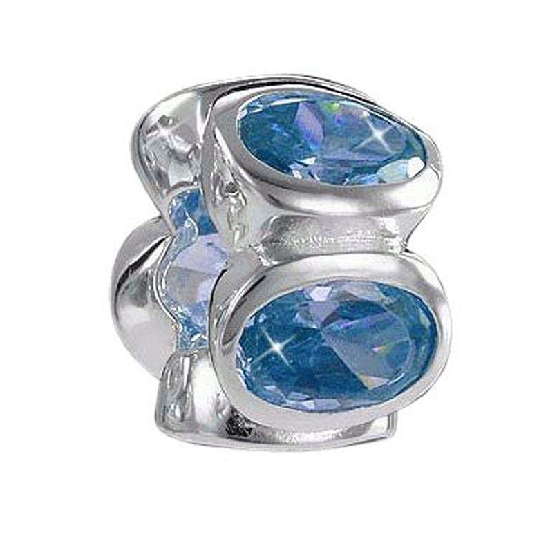 MATERIA 925 Silber Beads Zirkonia Anhänger Rondelle Blau für European Beads Armband / Kette #813