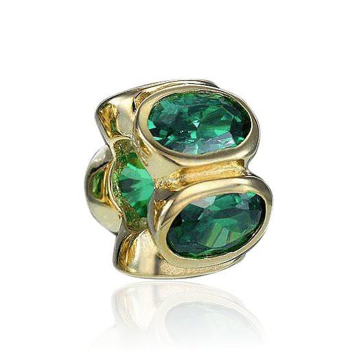 MATERIA Zirkonia Beads Perle grün - Zirkonia Bead Anhänger für European Beads Armband / Kette #733