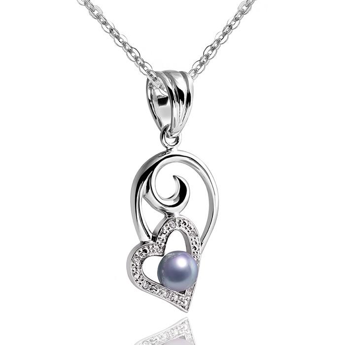 MATERIA 925 Silber Anhänger Herz REGALO - Perlen Kettenanhänger Zirkonia rhodiniert mit Box #KA-242