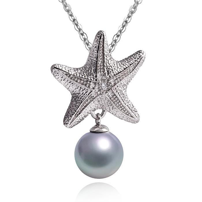 MATERIA 925 Silber Kettenanhänger Perle STELLA DI MARE - Seestern Anhänger Zirkonia rhodiniert #KA-248