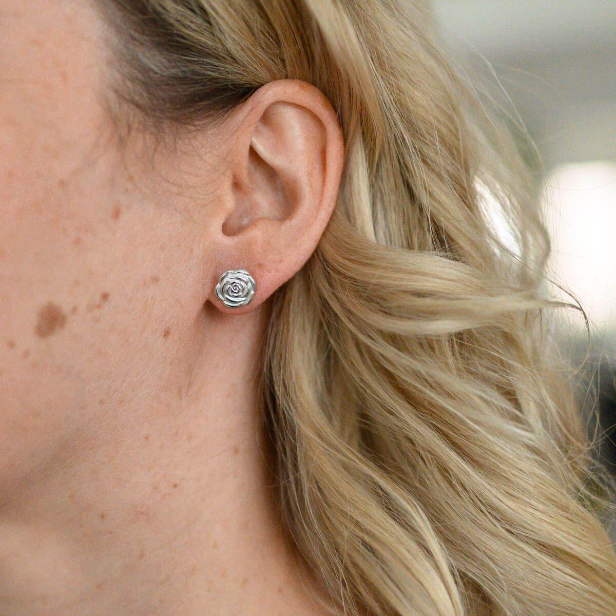 Edelstahl Ohrstecker Ohrringe Ohrschmuck Damen Kinder Vergold Silber Perlmutt