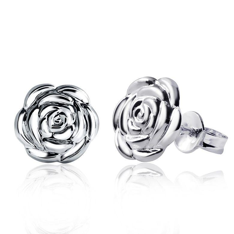 MATERIA 925 Silber Ohrstecker Rose rund rhodiniert 11x11mm - Damen Ohrringe Blumen Stecker + Box  #SO-212