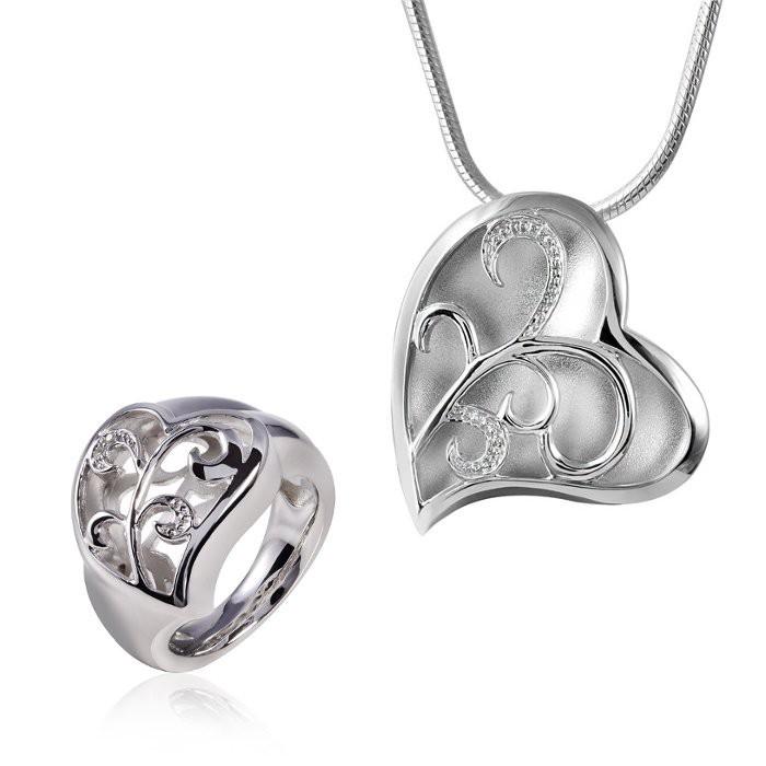 MATERIA 45cm Schlangenkette + 925 Silber Kettenanhänger Herz mit Zirkonia + Silber Ring inkl. Box