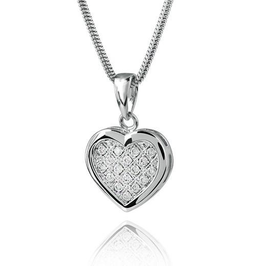 MATERIA 925 Silber Zirkonia Anhänger Herz mit Silber Schlangenkette 45cm inkl. Schmuck Box #144-33