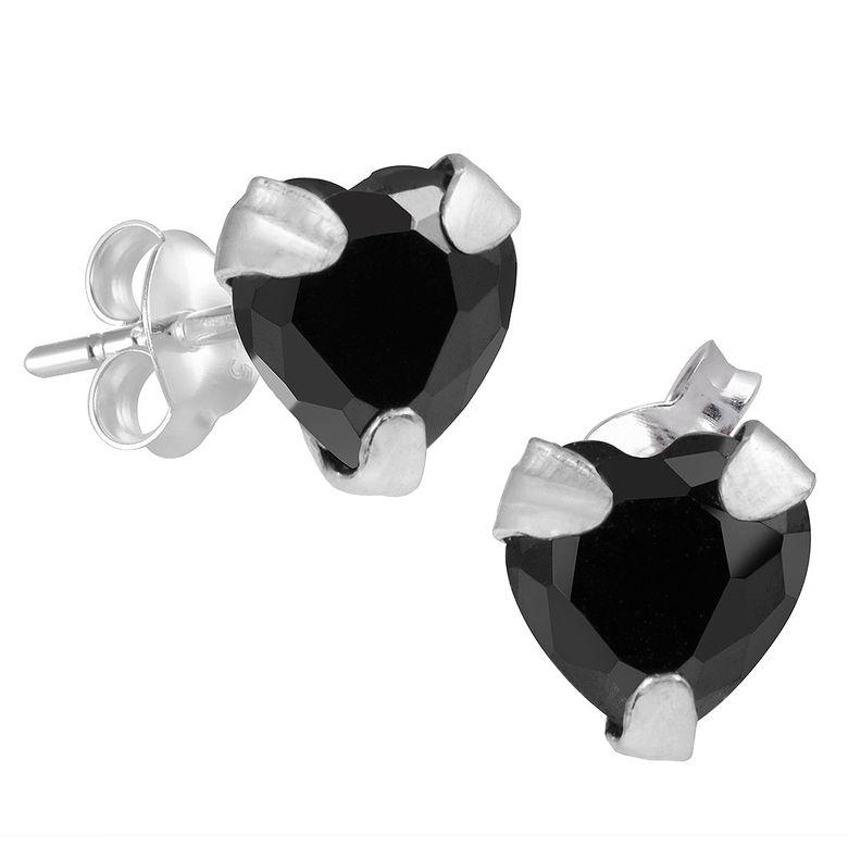 MATERIA Zirkonia Ohrstecker Herz schwarz - Kinderohrringe Silber 925 klein mit Schmuckbox #SO-215