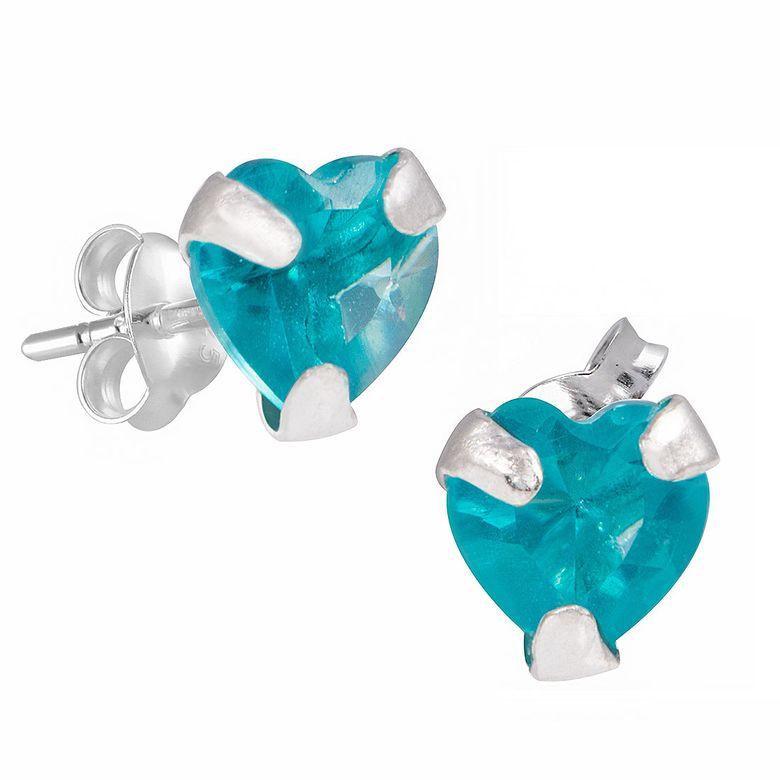 MATERIA Zirkonia Ohrstecker Herz blau - Kinderohrringe Silber 925 klein mit Schmuckbox #SO-216