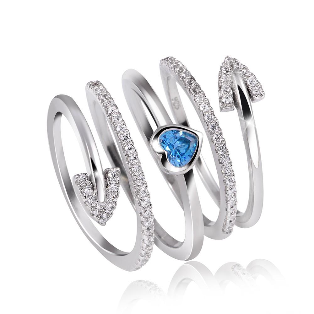 MATERIA Silber Wickel Ring SAGITTA Zirkonia blau