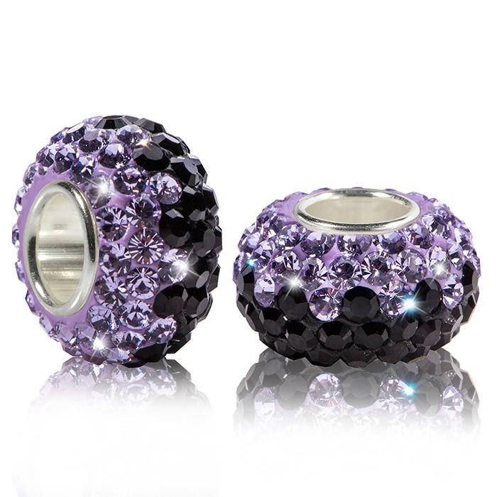 MATERIA Strass Bead Silber 925 - Kristall Anhänger lila schwarz für European Beads Armband #1666