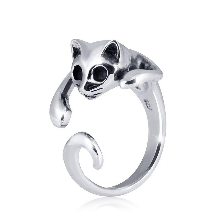 MATERIA Offener Ring Katze LAZY CAT - 925 Silber Damen Ring Tier antik inkl. Ring Etui #SR-70