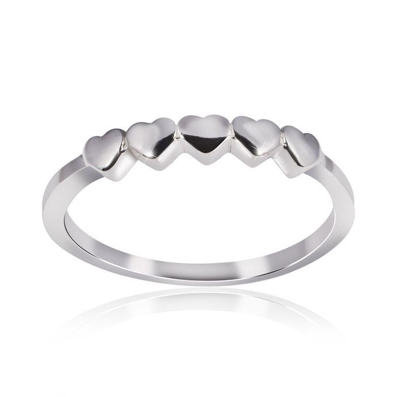 MATERIA 925 Sterling Silber Ring Herzen LOVELINE hochglanzpoliert - Damen Ring Liebe inkl. Schmuckbox #SR-71