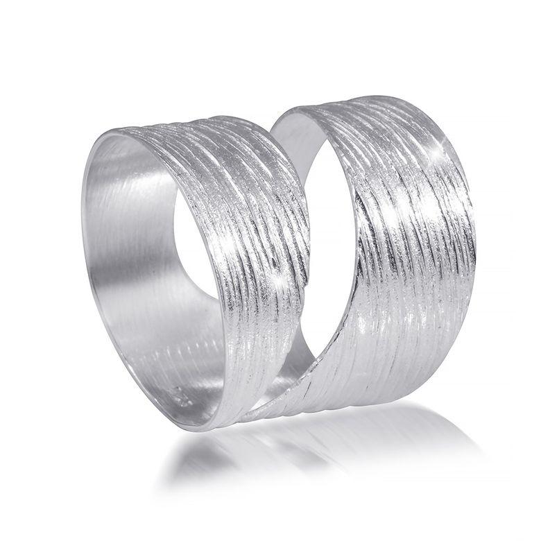 MATERIA 925 Sterling Silber Wickel Ring - Silber Band Ring breit mattiert inkl. Schmuckbox SR-73