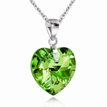 MATERIA Damen Kettenanhänger Herz 925 Silber Zirkonia grün facettiert inkl. Schmuckbox #KA-256