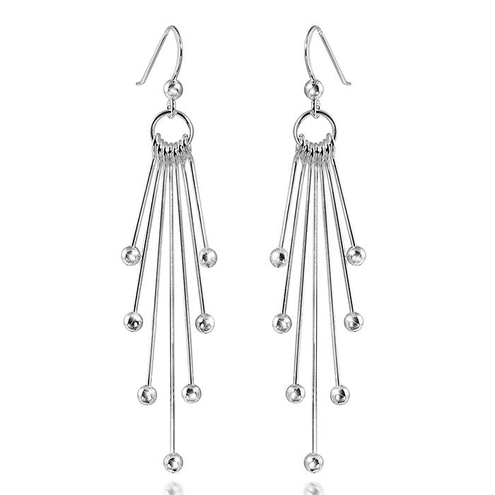 MATERIA 925 Sterling Silber Ohrhänger Kugel COMETA - Damen Ohrringe lang hängend #SO-240