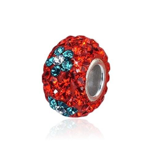 MATERIA Kristall Bead Blume Silber 925 - Strass Anhänger rot blau für European Beads Armband #220
