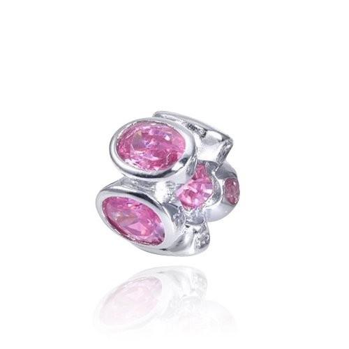 MATERIA Zirkonia Beads Perle Rosa - Zirkonia Bead Anhänger für European Beads Armband / Kette #144