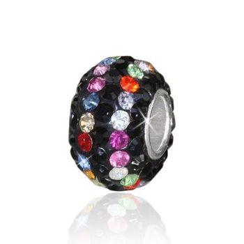MATERIA Strass Beads Kugel Silber 925 - Kristall Anhänger schwarz für Beads Armband / Kette #632