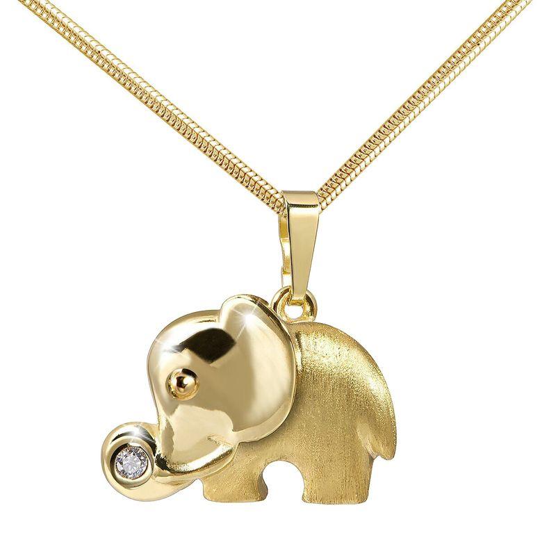 MATERIA Damen Anhänger Elefant aus 333 Gold mit Zirkonia - Goldkette mit Kettenanhänger Tiere Afrika #KA-260_K22g_B4
