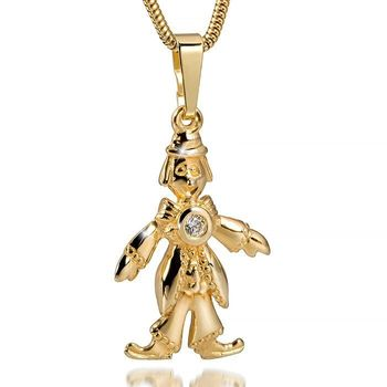 MATERIA Goldkette mit  Anhänger Clown / Zirkus  333 Gold mit Zirkonia in Geschenkbox Made in Germany #KA-265_B4