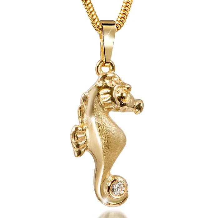MATERIA 333 Gold Kettenanhänger Seepferdchen mit Goldkette