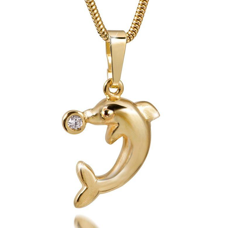 MATERIA Goldkette mit 333 Gold Anhänger Delphin 8k Zirkonia Tier mit Geschenk-Box Made in Germany #GKA-20