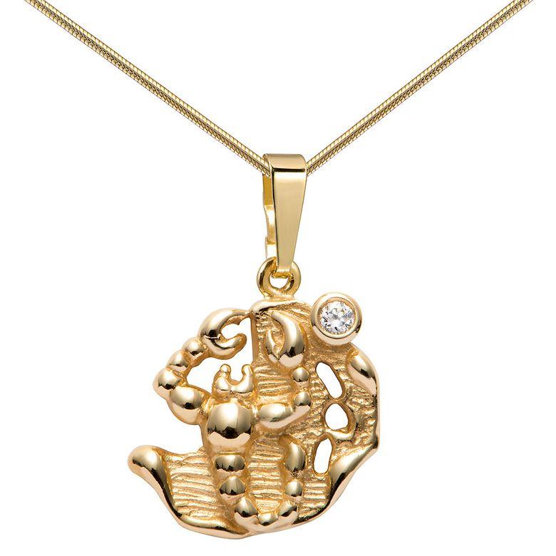 MATERIA Damen Kettenanhänger 333 Gold Sternzeichen Skorpion mit Halskette inkl. Box - Made in Germany  KA-281